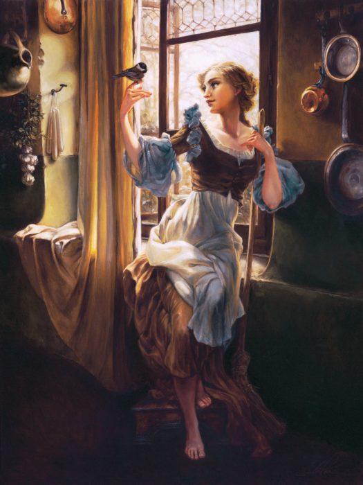 Cenicienta en una ilustración de una pintura clásica en Óleo