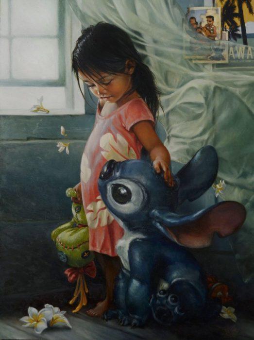 pintura clásica de los personajes de la película de disney Lilo y Stitch
