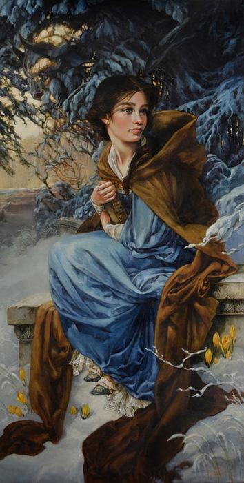 ilustración de la pintura en óleo de Bella la protagonista de la película de la bella y la bestia