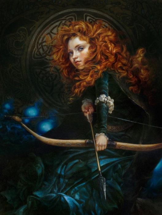 Pintura clásica en óleo de Mérida la protagonista de la película de Disney Valiente