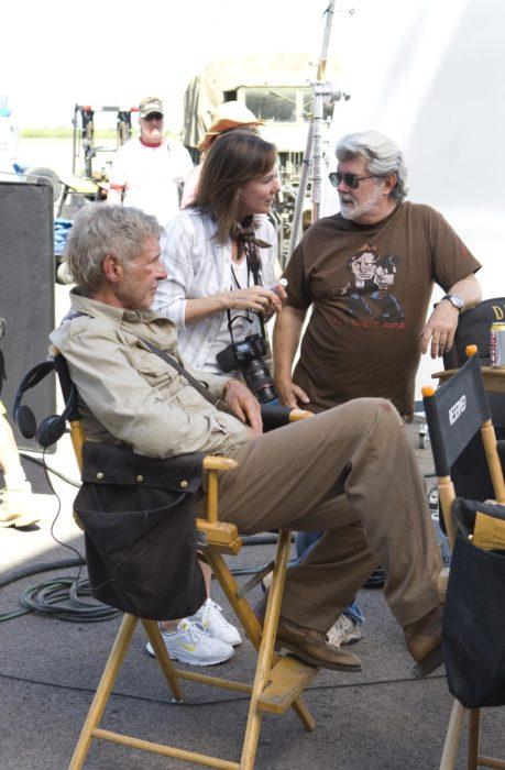 Han Solo y George Lucas durante una filmación