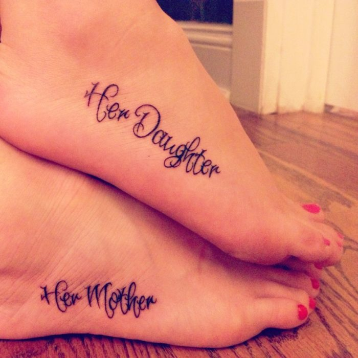 Cute Mother Daughter Affectionate Tattoos