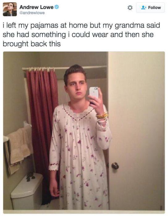 Joven usando pijama de su abuela