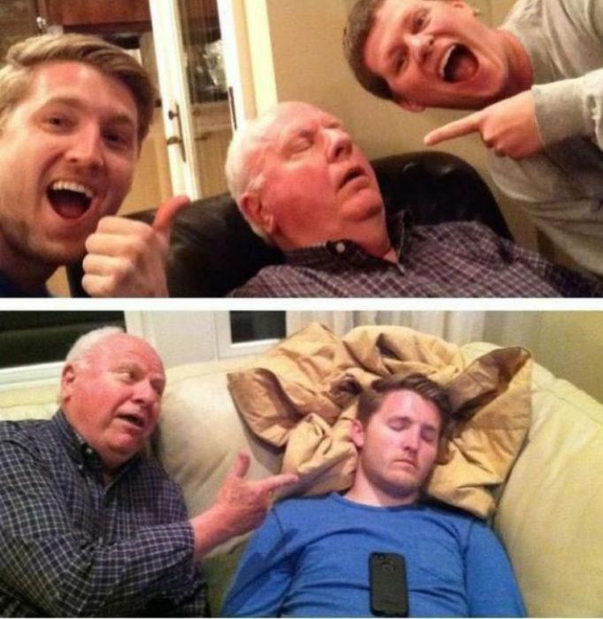 Nietos tomándose fotos mientras su abuelo está dormido; abuelo tomándose fotos con su nieto dormido