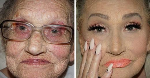 maquillista profesional maquilla a su abuela
