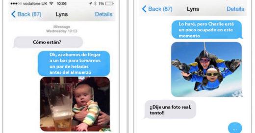 Hombre trollea a su esposa mandandole fotos de su hijo en situaciones muy graciosas