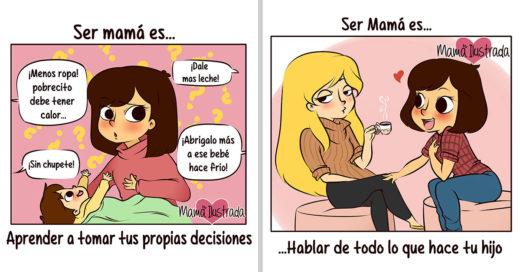 Ilustraciones que muestran como es la vida de las mamás