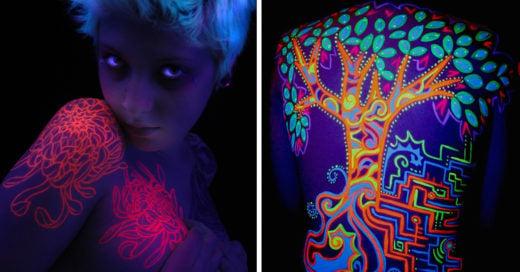 Tatuajes de tinta fluorescente que brillan en la oscuridad