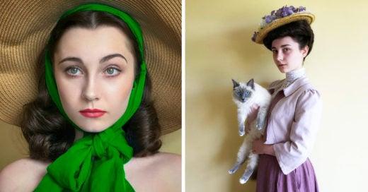 Mujer recrea fotos de bellezas de diferentes epocas
