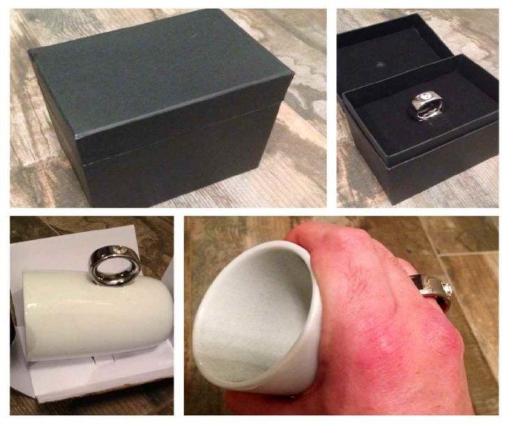Mujer piensa que su esposo le regaló un anillo pero realmente le regaló una taza