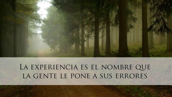 Proverbio judío - La experiencia es el nombre que la gente le pone a sus errores