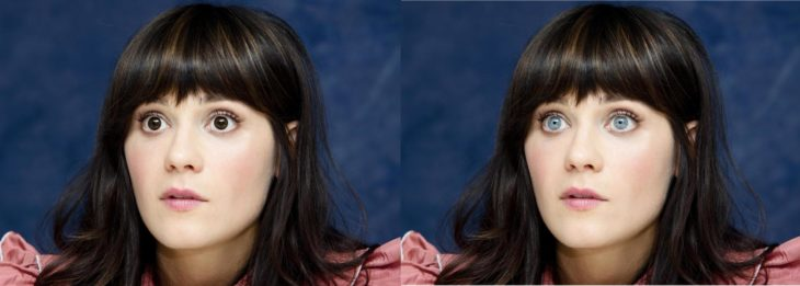 Zooey Deschanel cambio de color de ojos