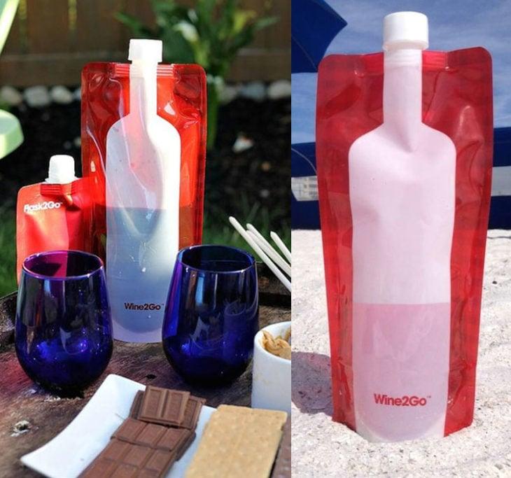 Bolsa con taparrosca para llevar bebidas a todas partes sin la botella