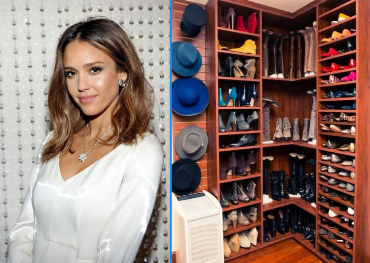 Armario con zapatos y sombreros de Jessica Alba