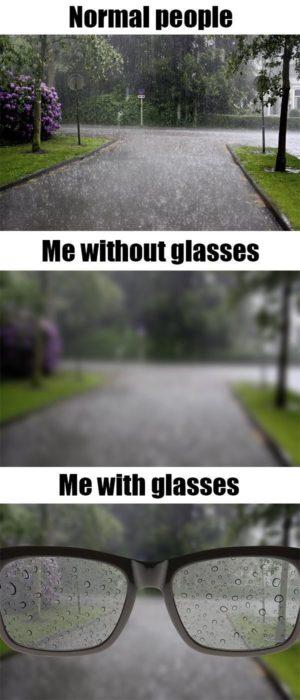 Imagen que muestra la diferencia entre la visión en la lluvia de las personas que no necesitan lentes, las que usan lentes cuando no los traen y las que usan lentes cuando usan sus lentes en la lluvia