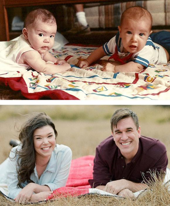 Foto de cuando eran bebés y ahora casados