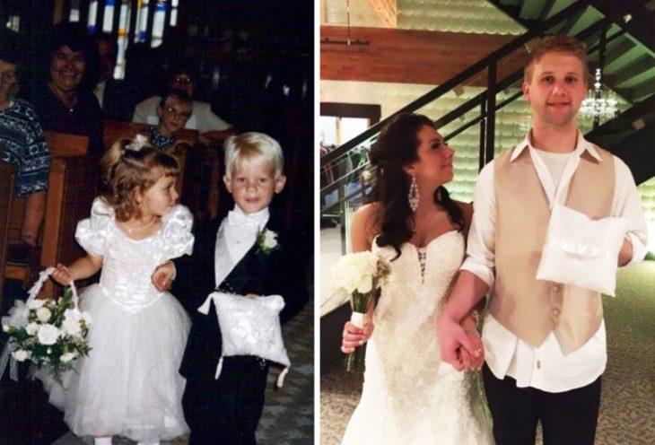 Foto de cuando eran pajecillos y luego 23 años después casandose