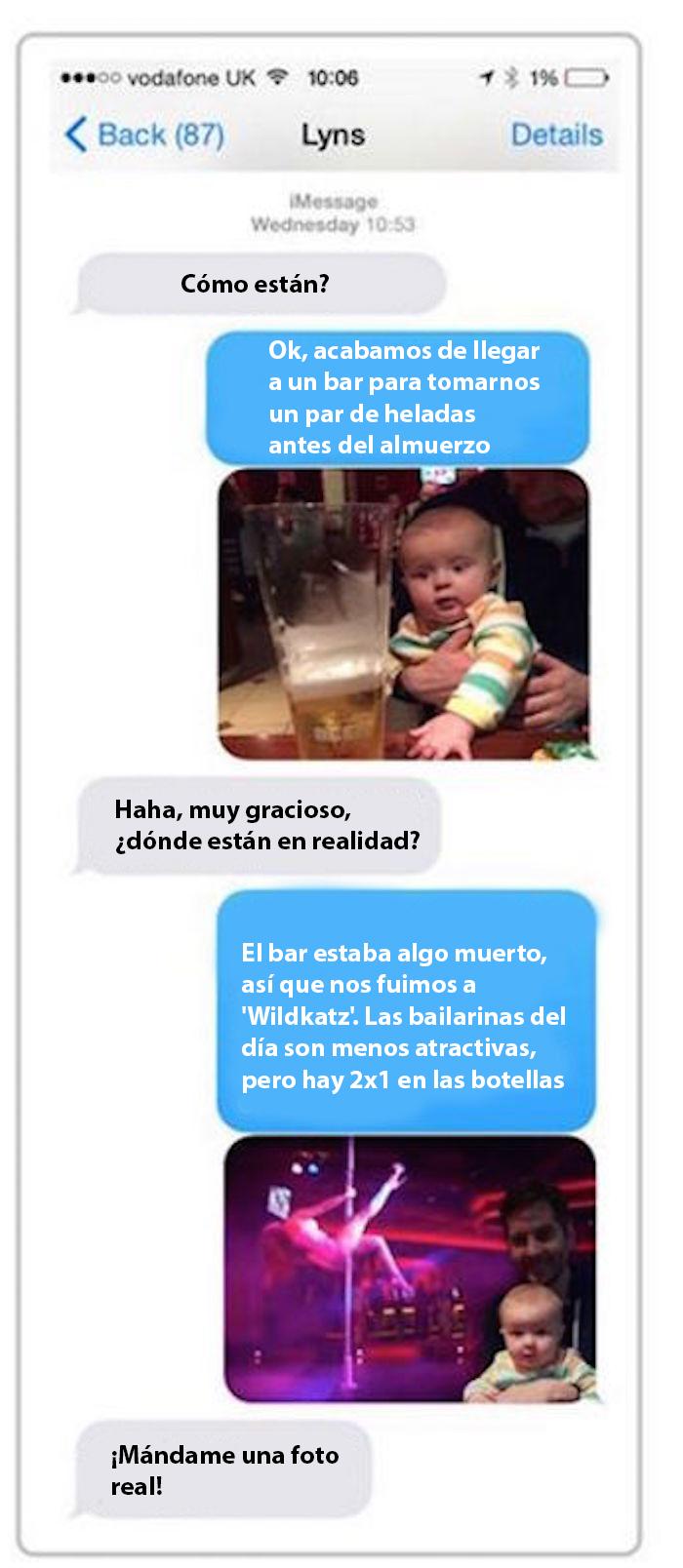 Papá le manda fotos a su esposa de su hijo en un bar y en un teibol