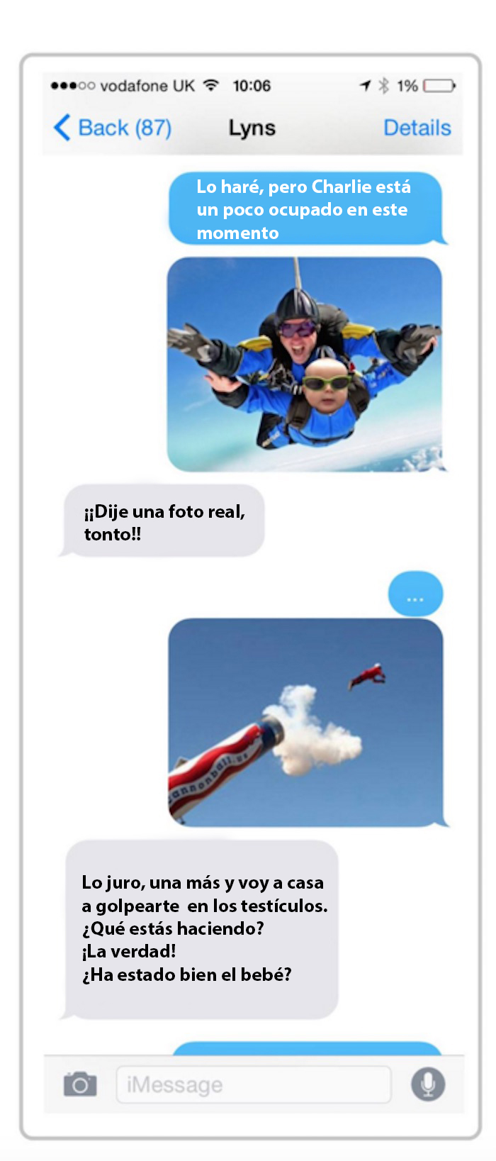 Papá le manda foto a su esposa de su hijo aventándose de un paracaídas