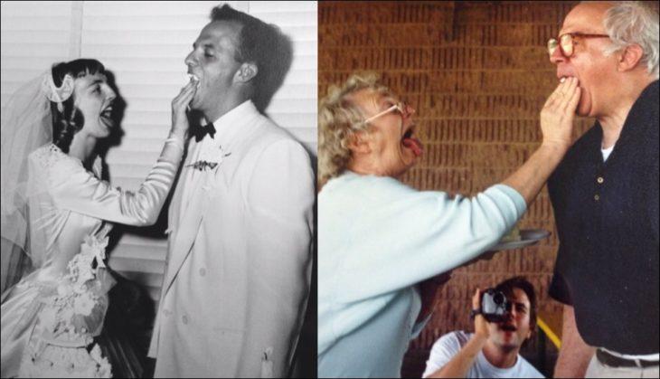 Abuelos recreando su foto de cuando comieron pastel en su boda
