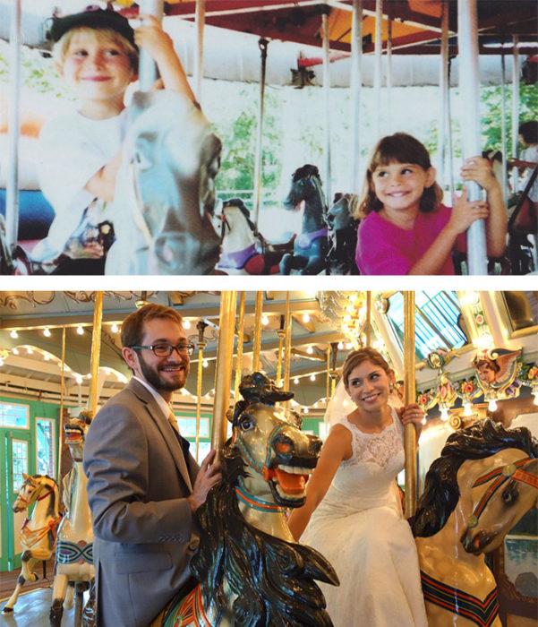ANTES niños en carrusel AHORA en el carrusel vestidos de novios
