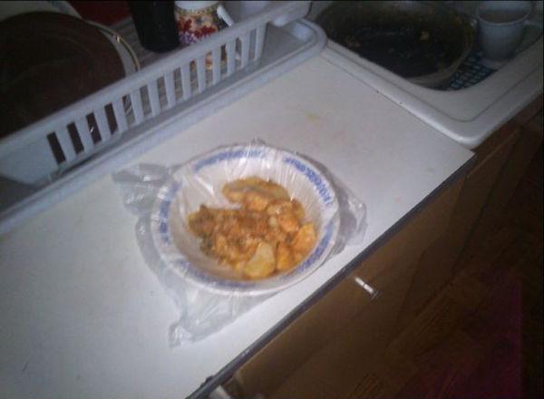 plato en bolsa de plástico
