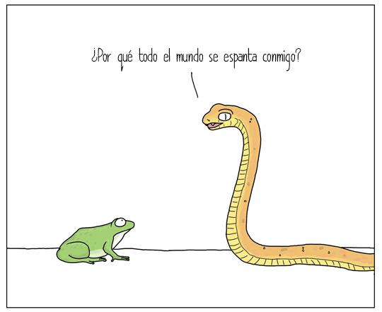serpiente y rana