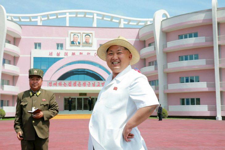 Kim jong un y edificio rosa