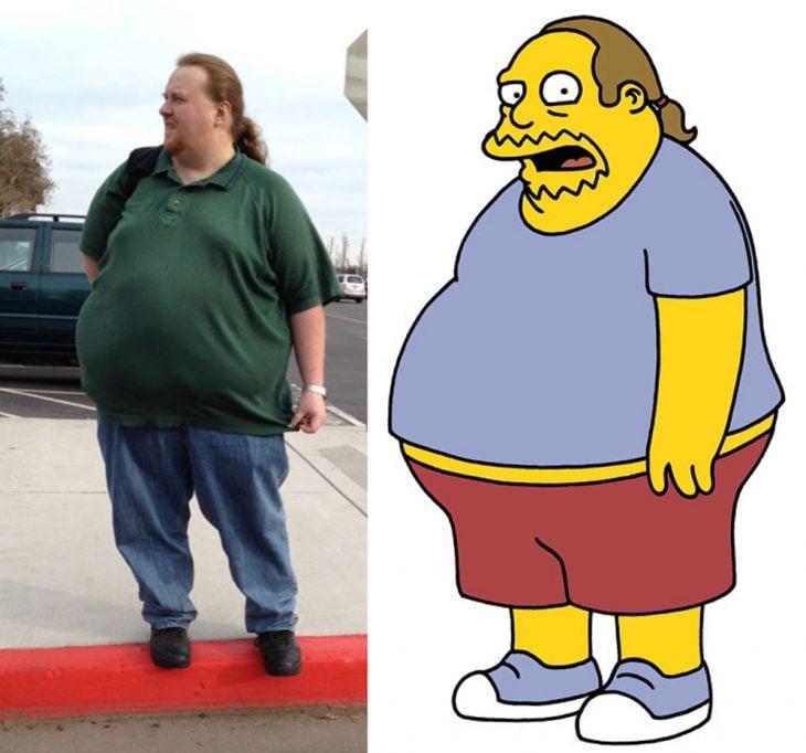 Parecido personajes caricaturas. Personaje de la tienda de cómics de Los Simpson