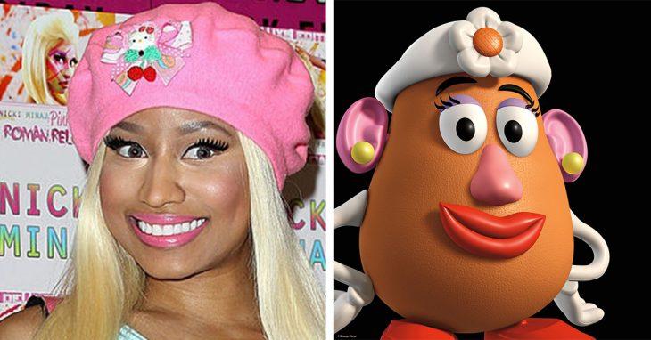 Parecido personajes caricaturas. Nicki Minaj y la Señora Cara de Papa