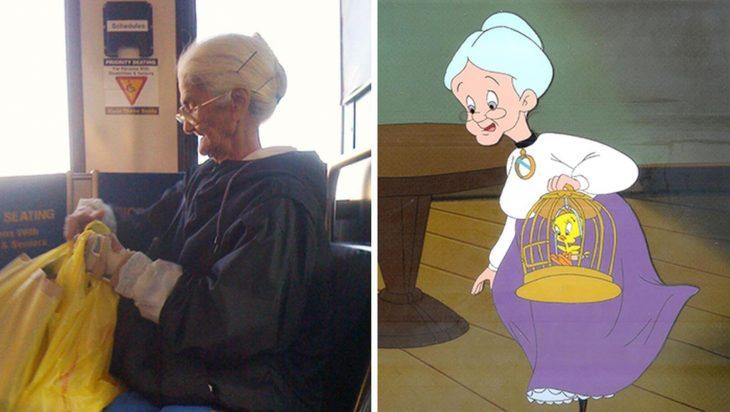 Parecido personajes caricaturas. La abuelita de Piolín