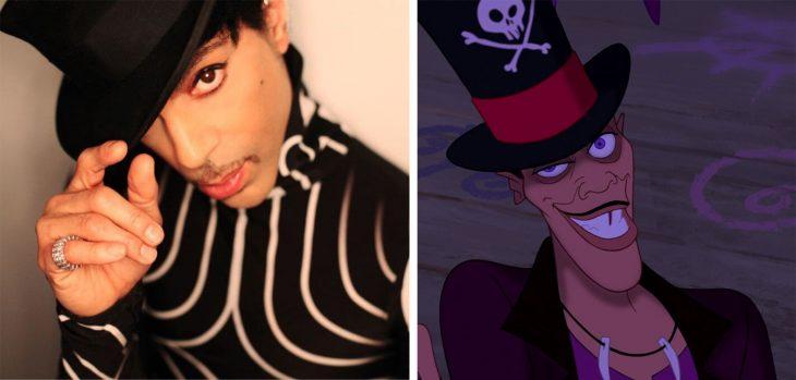 Parecido personajes caricaturas. Prince y el sr. Facilier de La Princesa y el Sapo