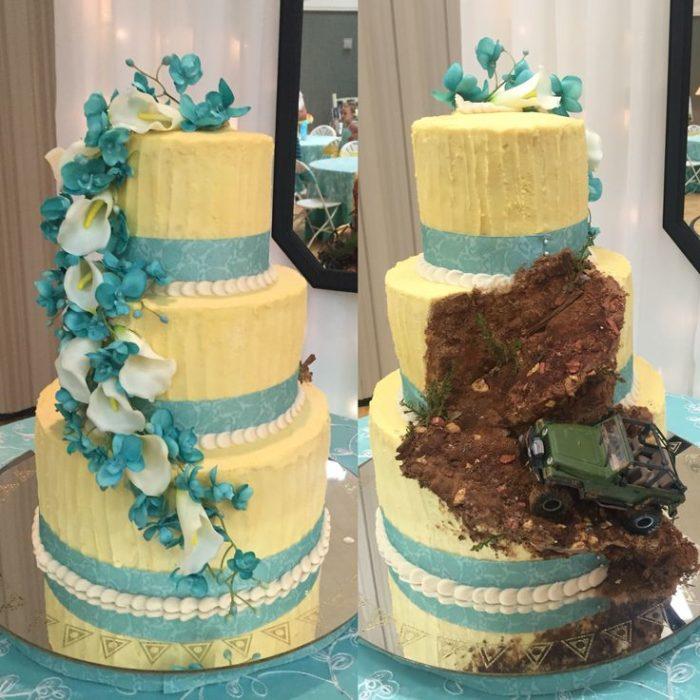 pastel de boda amarillo con pedazo estilo todo terreno