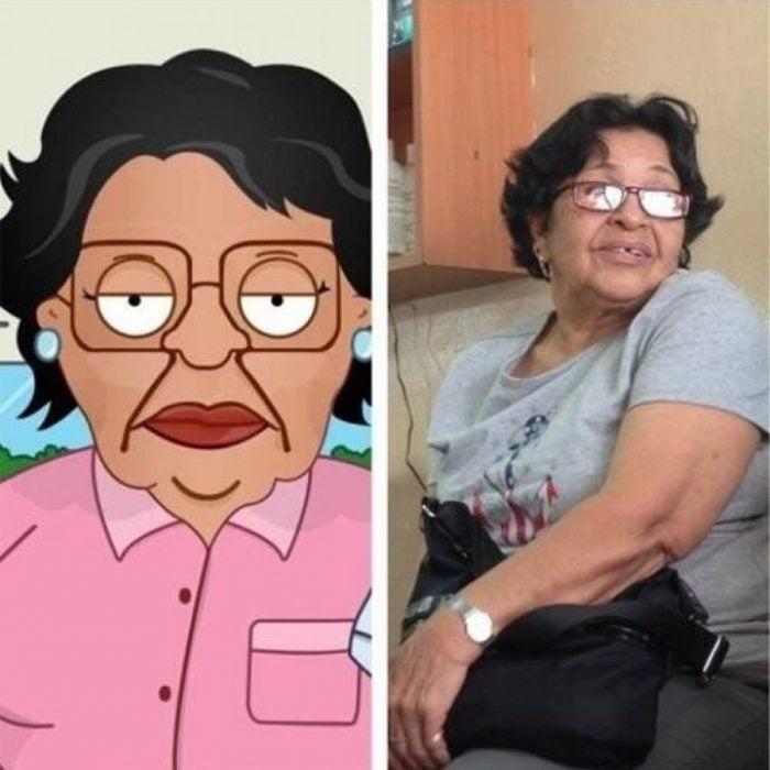 Parecido personajes caricaturas. Una mujer está IDÉNTICA a Consuela, de Family Guy