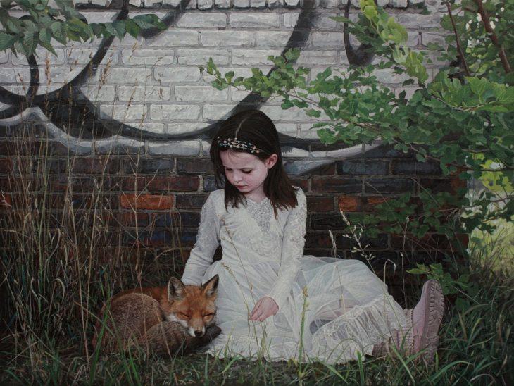 pintura hiperrealista niña y zorro