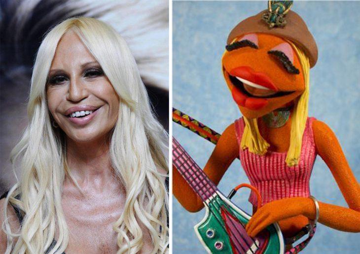 Parecido personajes caricaturas. Donatella Versace y el parecido con Janice d elos Muppets