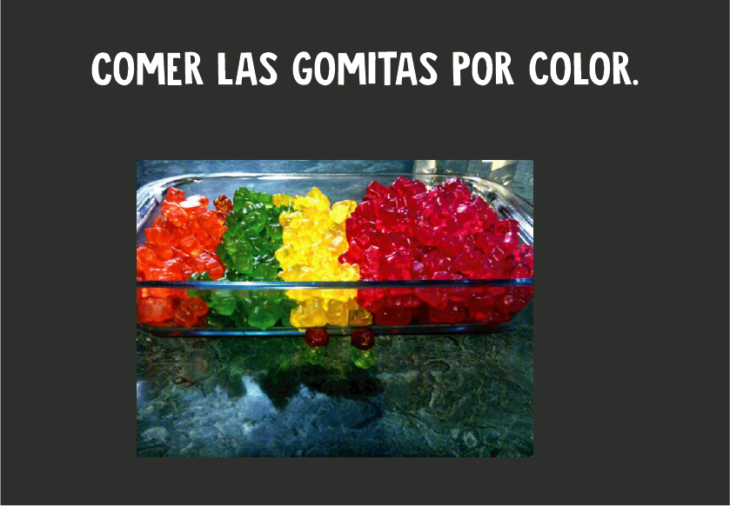 Comer gomitas por color
