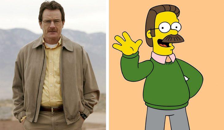 Parecido personajes caricaturas. Walter White y Ned Flanders