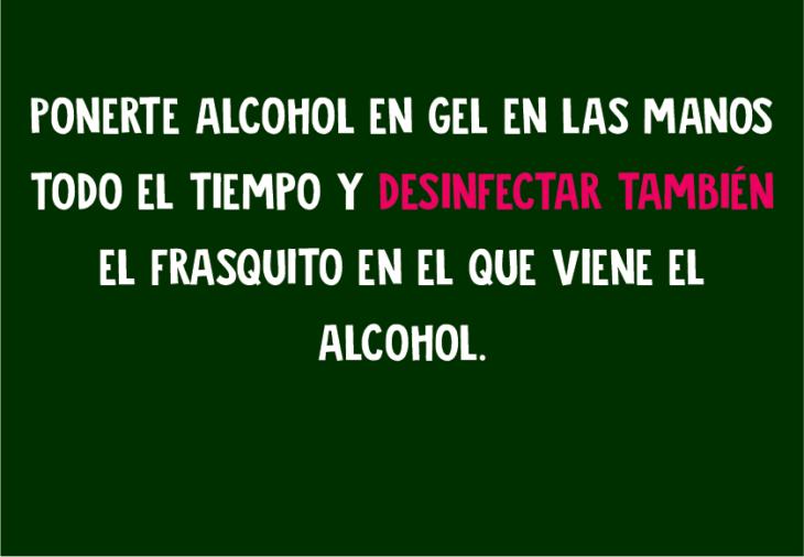 Ponerte alcohol en las manos