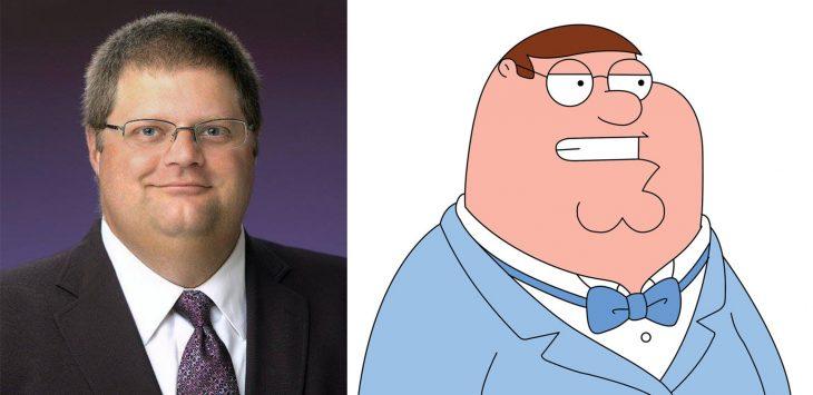 Parecido personajes caricaturas. Peter Griffin de Family Guy