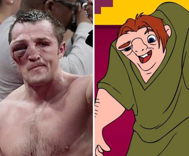Parecido personajes caricaturas. Un boxeador que se parece al Jorobado de Notre Dame