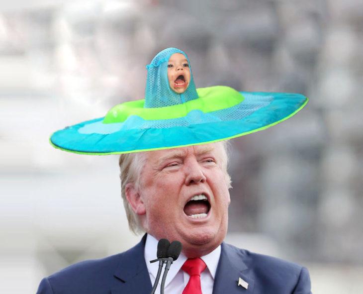 con un sombrero de TRUMP