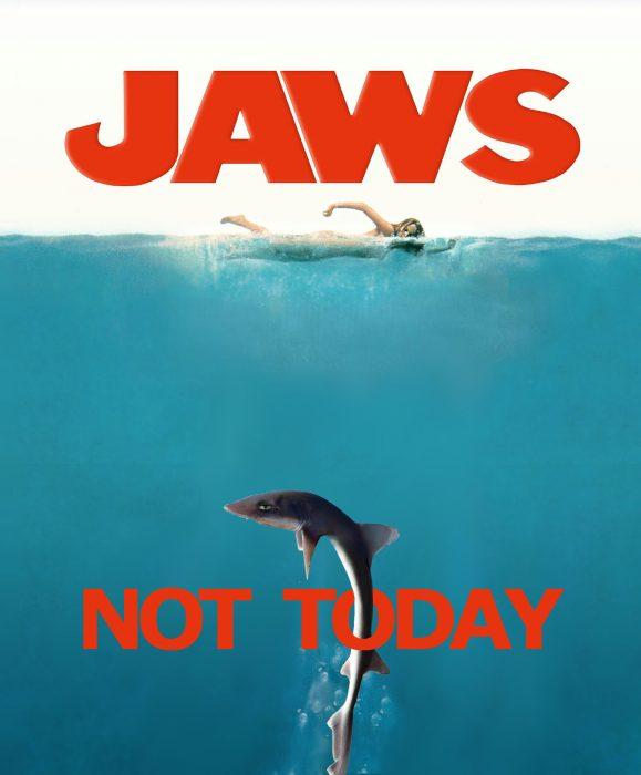 tiburon en la portada de la película de Tiburon