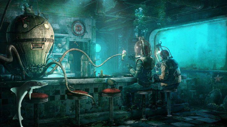 tomando una soda en un bar