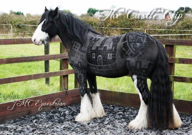 caballo con un paisaje tatuado ensu pelaje