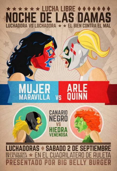 Cartel de lucha libre con personajes de cómics
