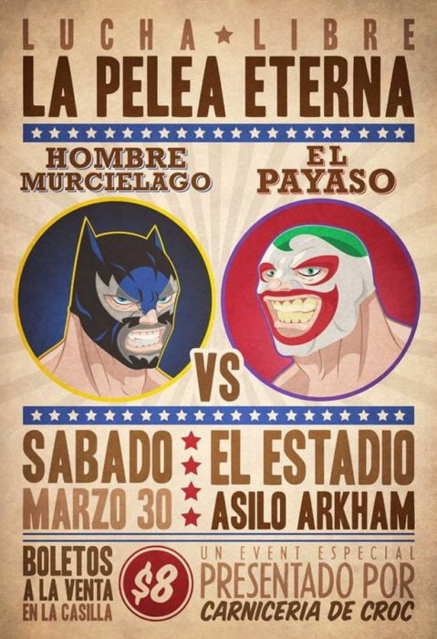 Cartel de lucha libre mexicana con personajes de cómics. El hombre murciélago vs. El payaso