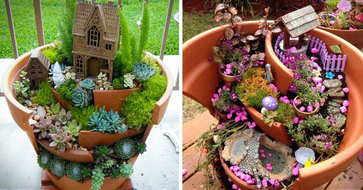 Jardines miniatura hechos de macetas rotas vas a querer uno for Macetas para jardines pequenos