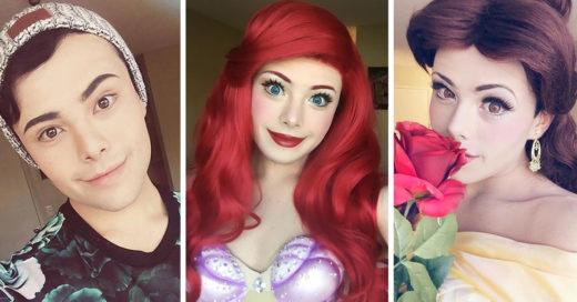 Hombre que se disfraza de las princesas de Disney