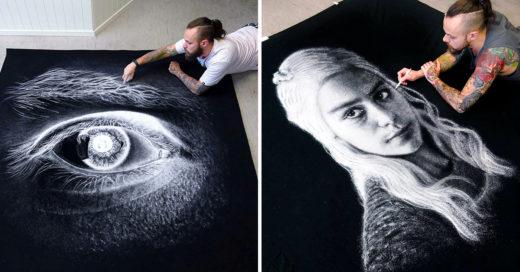 Dino Tomic realiza dibujos gigantescos con sal
